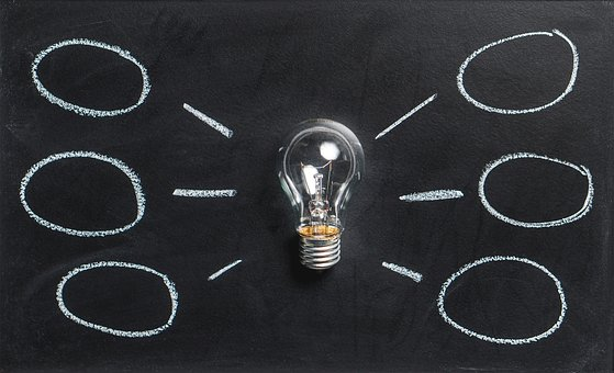 create an outline image of lightbulb with ideas coming off it